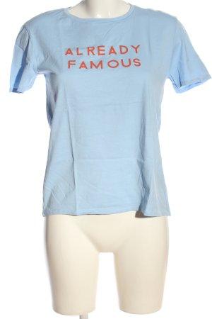 Zara T-Shirt blau Schriftzug gedruckt Casual-Look