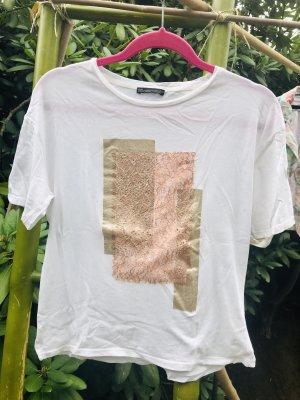 Zara Trafaluc Shirt Tunic white-gold-colored
