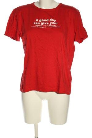 Zara T-Shirt rot-weiß Schriftzug gedruckt Casual-Look