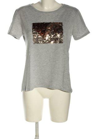Zara T-Shirt hellgrau-goldfarben abstraktes Muster Casual-Look