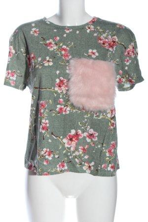 Zara T-Shirt grün-pink Allover-Druck Casual-Look