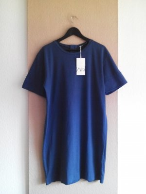 Zara T-Shirt-Kleid in Kadettblau mit Knöpfe, Grösse M, neu