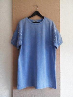 Zara T-Shirt-Kleid in verwaschener Optik aus 100% Baumwolle, Perlendetail an den Ärmeln, Größe L