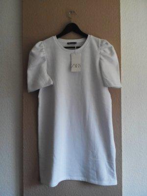 Zara T-Shirt-Kleid mit Ballonärmeln in weiss, Größe M, neu mit Etikett