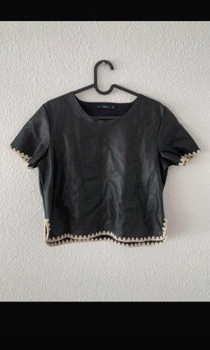 Zara T-Shirt Lederoptik