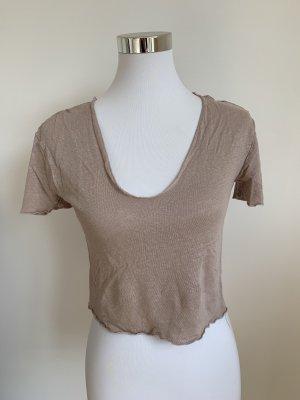 Zara T-Shirt Leinen Gr S 36 beige
