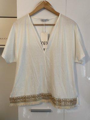 Zara Shirt Tunic white-gold-colored
