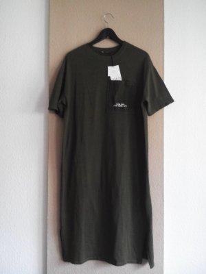 Zara T-Shirt-Midikleid mit Tasche in khaki, Größe M oversize, neu