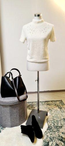 Zara/ T-Shirt mit fakefur und Schmuckperlen / Größe L/ Weiß
