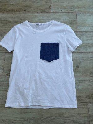 Zara T-Shirt mit Jeans Tasche auf Brust