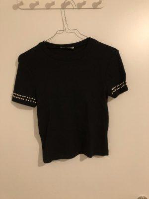 Zara T-Shirt mit Perlenbesetzung an den Armen