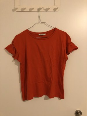 Zara T-Shirt mit Rüschen an den Armenden