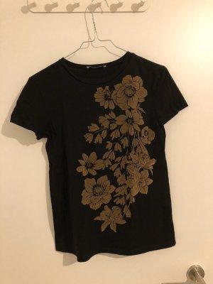 Zara T-Shirt mit Samtglitzer-Blumenmuster