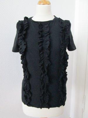 Zara T-Shirt mit Volants schwarz Gr. S
