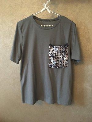 Zara T-Shirt oversized grau schwarz Pailletten Gr. S