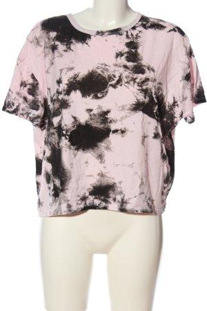 Zara T-Shirt pink-schwarz abstraktes Muster Casual-Look
