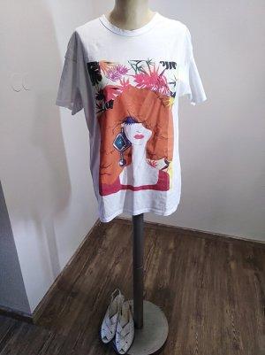 Zara T-Shirt Printshirt weiß bunt Gr. S/M