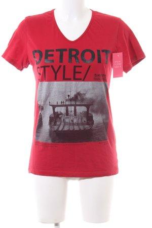 Zara T-Shirt rot-schwarz Motivdruck Casual-Look