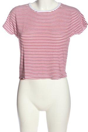 Zara T-Shirt rot-weiß Streifenmuster Casual-Look