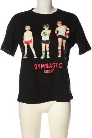 Zara T-Shirt schwarz-pink Motivdruck Casual-Look