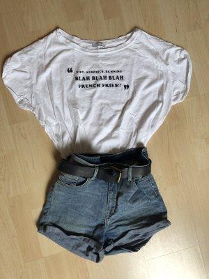 Zara T-Shirt Shirt weiß Aufdruck Glitzer