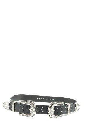 Zara Taillengürtel schwarz-silberfarben Casual-Look