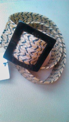 Zara Accesoires Fabric Belt black-light brown textile fiber
