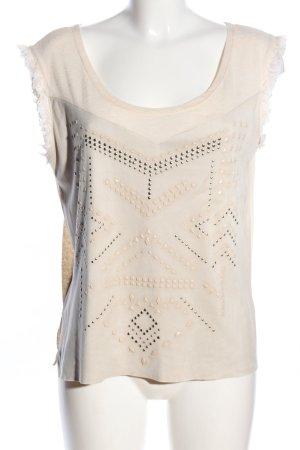 Zara Tanktop wollweiß grafisches Muster Casual-Look