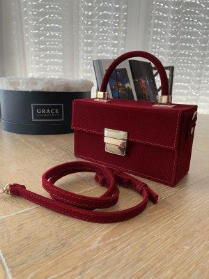 Zara Tasche aus Samt Tasche rot Handtasche Samttasche Umhängetasche Schultertasche weinrot