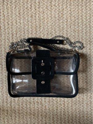 ZARA Tasche durchsichtig mit schwarzem Kunstleder