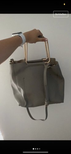 Zara Tasche Grau Leder