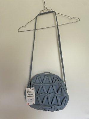 Zara Tasche Umhängetasche Schultertasche Crossbody Bag Graublau Himmelblau M
