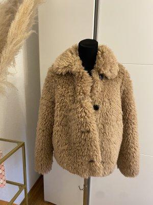 Zara Kurtka ze sztucznym futrem jasnobrązowy
