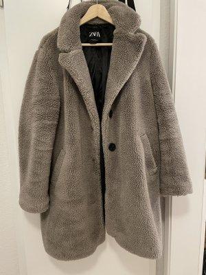 Zara Teddy Mantel grau Größe XL