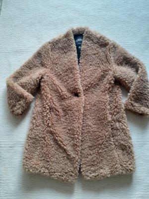 zara teddyfell mantel neu gr. s 36 nude camel beige