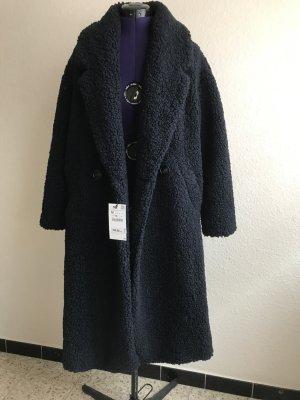 Zara Cappotto in eco pelliccia blu scuro Poliestere