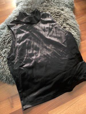 Zara Top de cuello de cisne negro-color plata