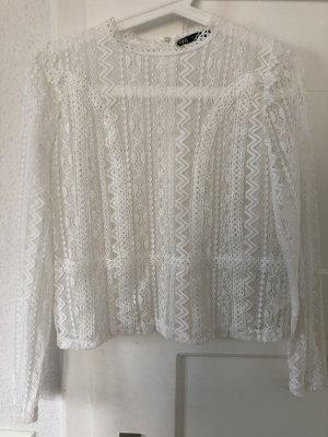 Zara Top en maille crochet blanc
