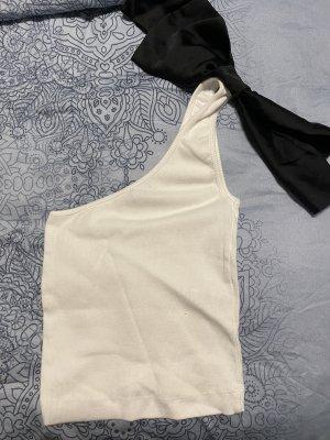 Zara Haut avec une épaule dénudée blanc-noir