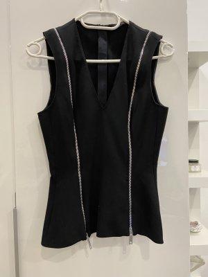 Zara Woman Peplum Top black-silver-colored