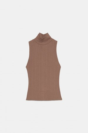 Zara Turtleneck Shirt light brown-brown