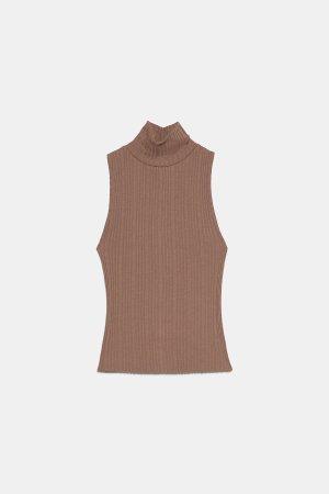 Zara Koszulka z golfem jasnobrązowy-brązowy