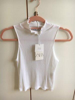 Zara Basic Top recortado blanco