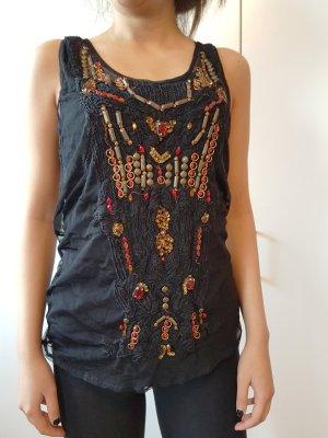 Zara Top elegantes Tüll Top mit Steinchen Perlen Spitze detailreiche Bluse Mesh Perlen Tüll mit Stickerei