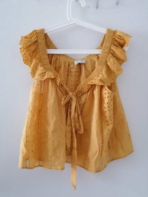 Zara Top de ganchillo amarillo