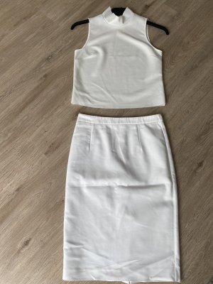 Zara Top de cuello de cisne blanco