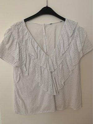 Zara T-shirt col en V blanc