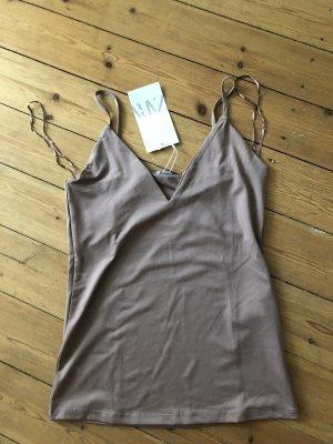 Zara Top mauve beige graubraun Camisold Shirt