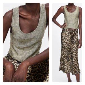 Zara top metallic gold neu Gr L blogger