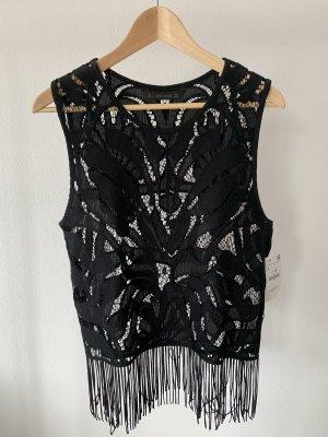 Zara Crochet Top black polyester